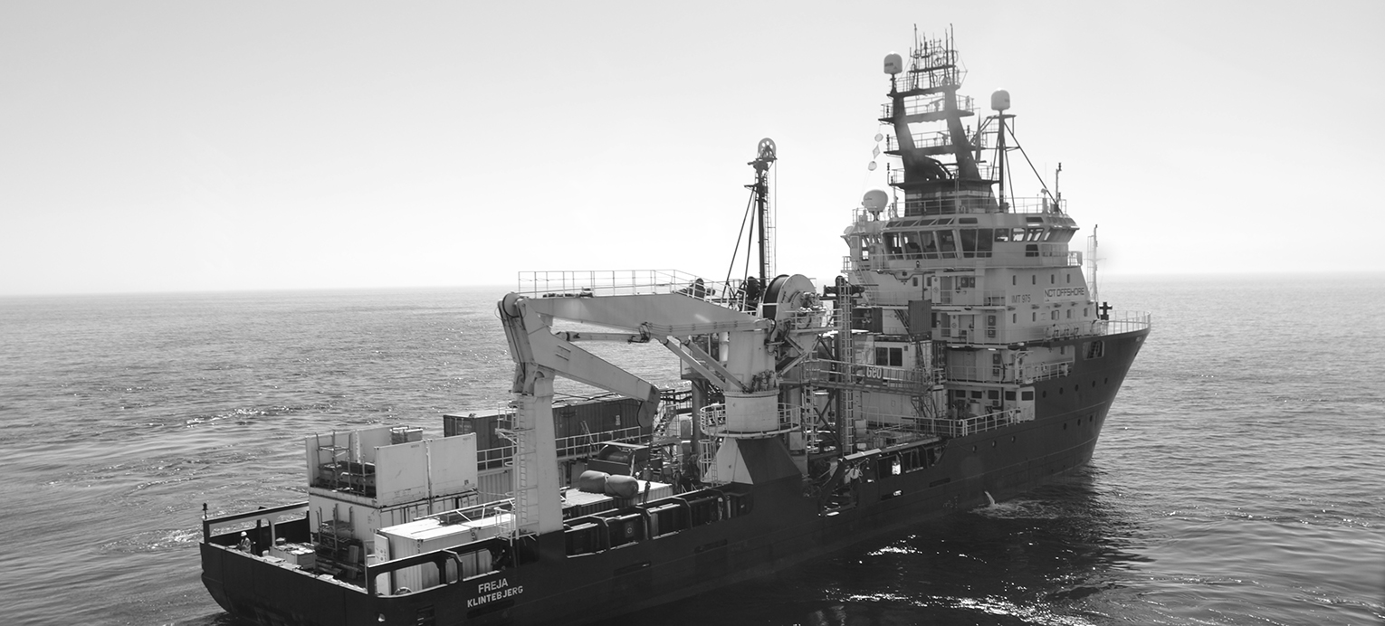 The drill ship Freja with heave compensated drill setup